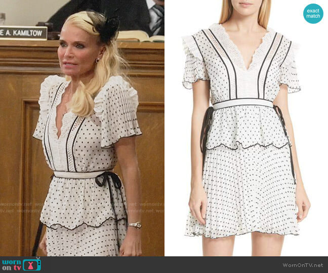Self Portrait Pleated Plumetis Dress worn by Lavinia Peck-Foster (Kristin Chenoweth) on Trial & Error