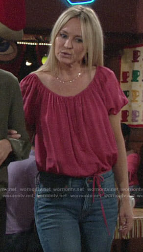 Sharon's pink button front top on The Young and the Restless