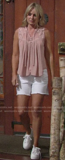 Sharon's pink top and white denim shorts on The Young and the Restless