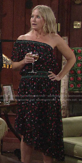 Sharon's black floral one-shoulder dress on The Young and the Restless