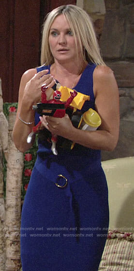 Sharon's blue belted dress on The Young and the Restless