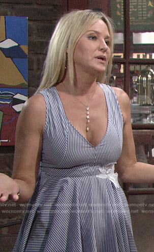 Sharon's blue striped v-neck dress on The Young and the Restless