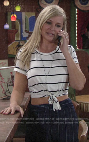 Sharon's striped tie-front crop top on The Young and the Restless