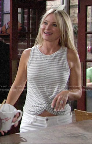 Sharon's striped twist front tank top on The Young and the Restless