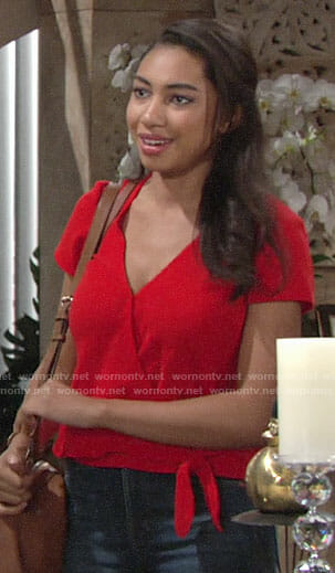 Shauna's red wrap top on The Young and the Restless