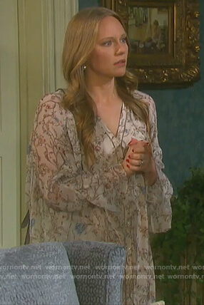Abigail's floral print ruffle sleeve dress on Days of Our Lives