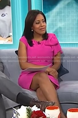 Sheinelle's pink ruffle shoulder dress on Today