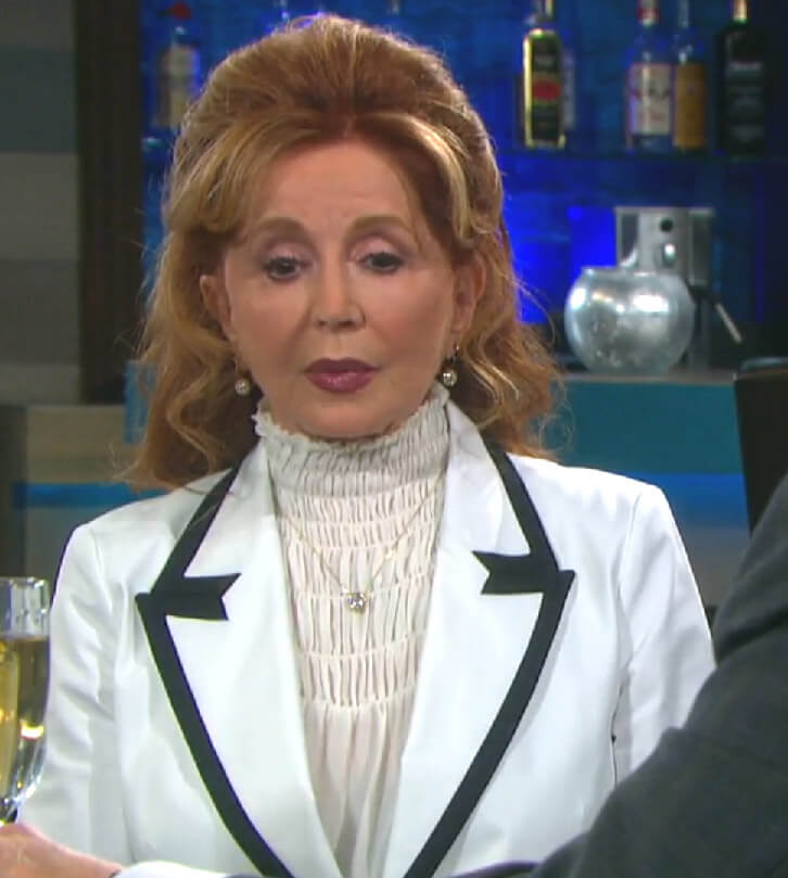 Maggie's white contrast blazer and smocked blouse on Days of our Lives