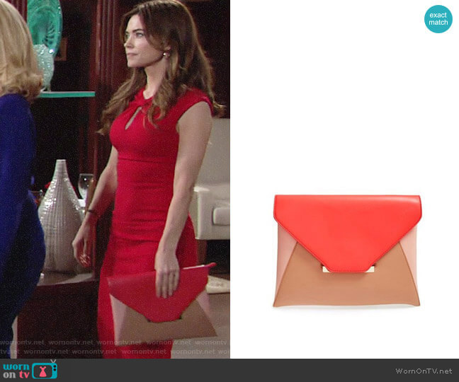 Sole Society Colorblock Faux Leather Envelope Clutch worn by Amelia Heinle on The Young & the Restless
