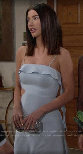 Steffy's light blue ruffled dress on The Bold and the Beautiful