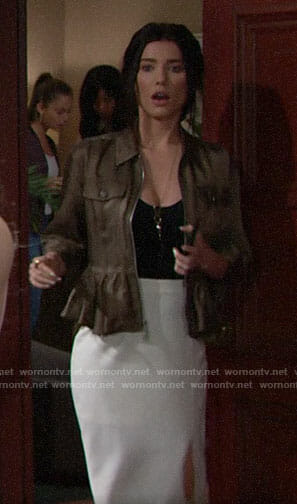 Steffy's green peplum jacket on The Bold and the Beautiful