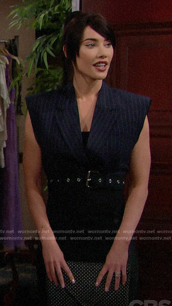 Steffy's cropped pinstripe vest on The Bold and the Beautfiul