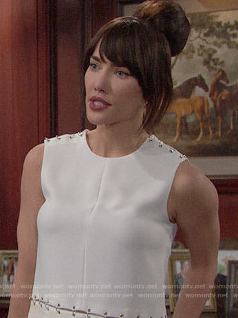 Steffy's white top with metal links on The Bold and the Beautiful