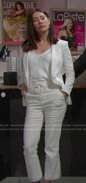 Steffy's white pinstriped suit on The Bold and the Beautiful