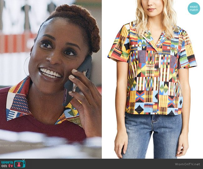 Stella Jean Macro Kente Shirt worn by Issa Dee (Issa Rae) on Insecure