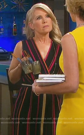 Jennifer's black striped wrap jumpsuit on Days of our Lives