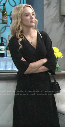 Summer's black wrap dress on The Young and the Restless