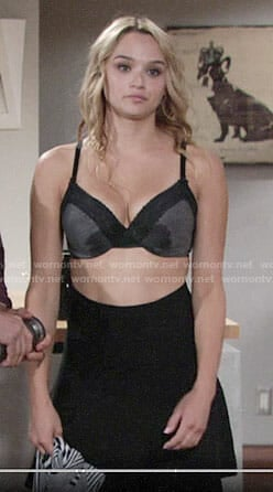 Summer's grey bra and black high waisted skirt on The Young and the Restless