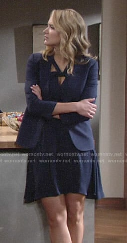Summer's navy twist neck dress on The Young and the Restless