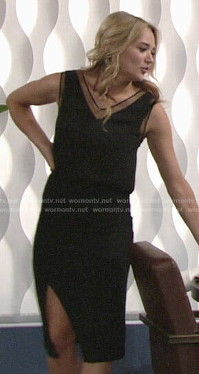 Summer's black mesh inset top on The Young and the Restless