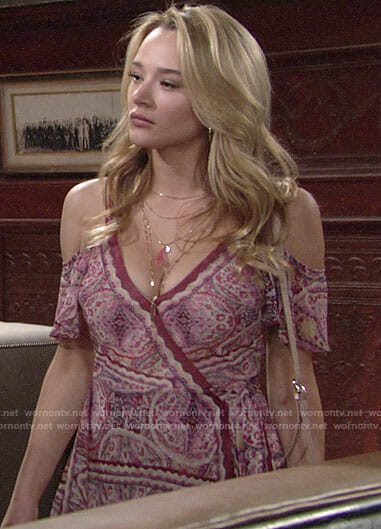 Summer's purple printed wrap dress on The Young and the Restless