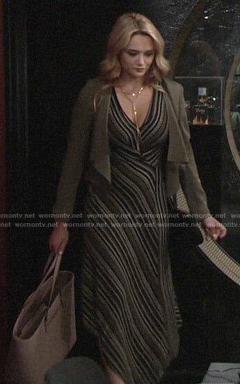 Summer's striped maxi dress and cropped jacket on The Young and the Restless