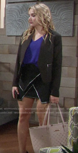 Summer's studded trim skirt and black blazer on The Young and the Restless