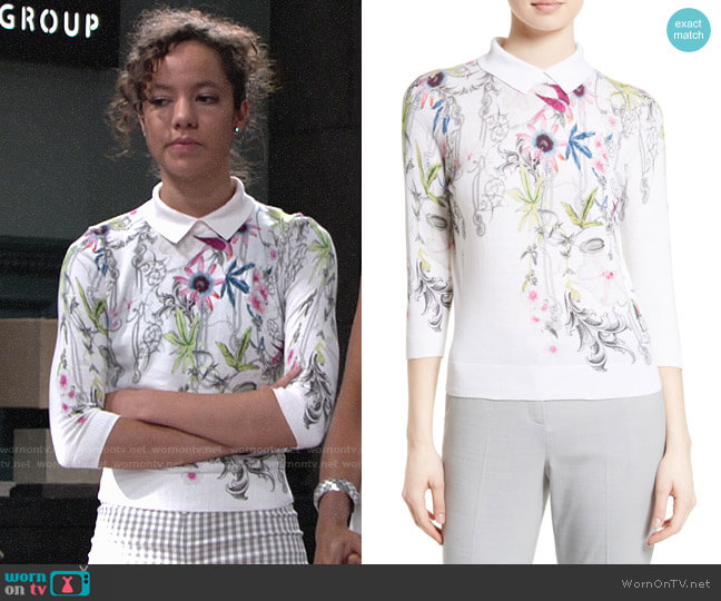 Ted Baker Kikka Passion Flower Sweater worn by Mattie Ashby (Lexie Stevenson) on The Young & the Restless