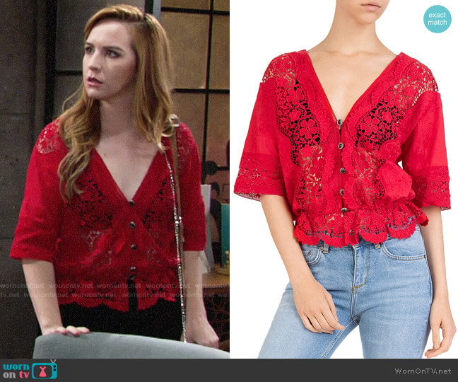 The Kooples Sheer Lace-Inset Cotton Top worn by Camryn Grimes on The Young & the Restless