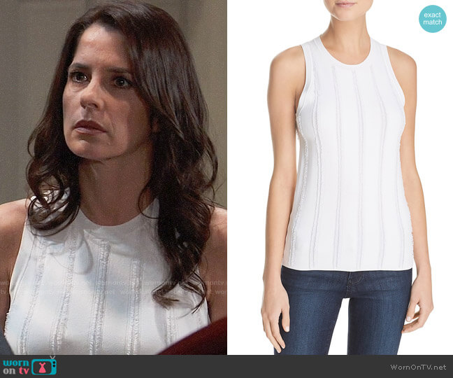Theory Fringe Trim Tank worn by Kelly Monaco on General Hospital