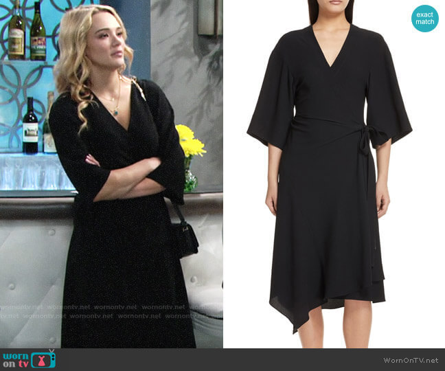 Theory Kimono Wrap Dress  worn by Hunter King on The Young & the Restless