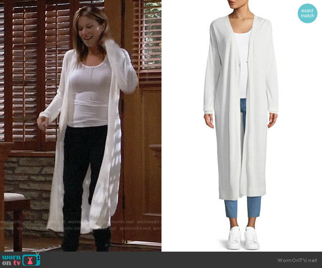 Theory Duster Cardigan worn by Nancy Lee Grahn on General Hospital
