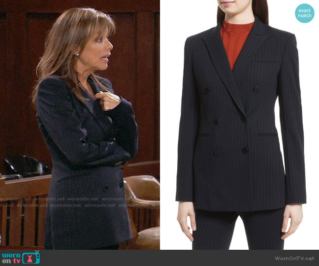 Theory Pinstripe Power Blazer worn by Nancy Lee Grahn on General Hospital