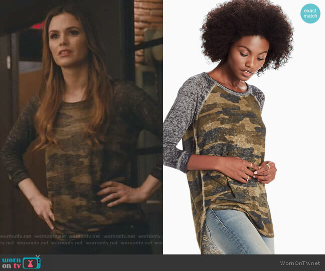 3/4 Sleeve Camo Raglan Tee by Lucky Brand worn by Rachel Bilson on Take Two