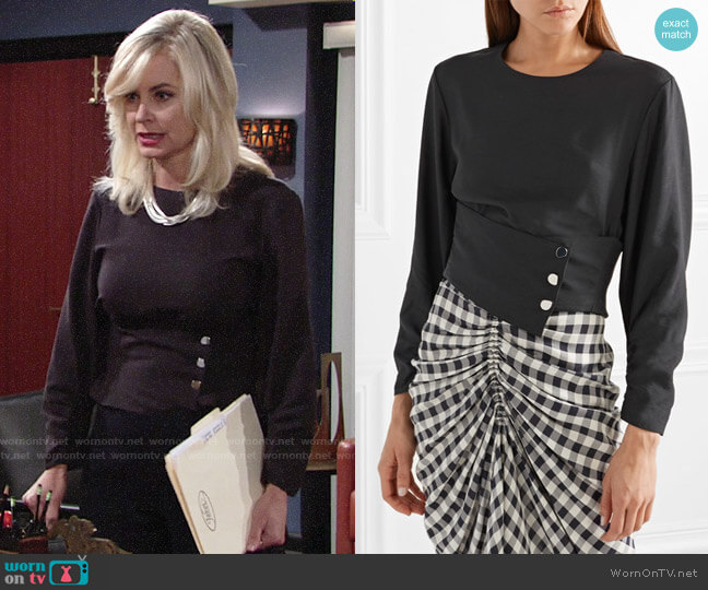 Tibi Layered Twill Top worn by Eileen Davidson on The Young & the Restless