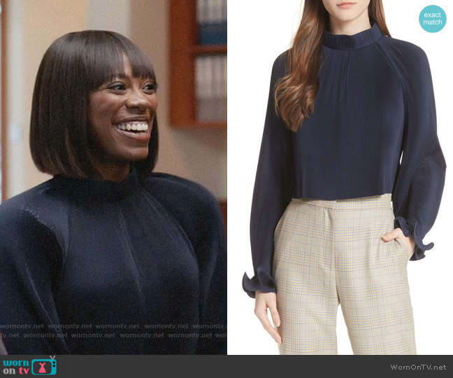 Tibi Pleated Crop Top worn by Yvonne Orji on Insecure
