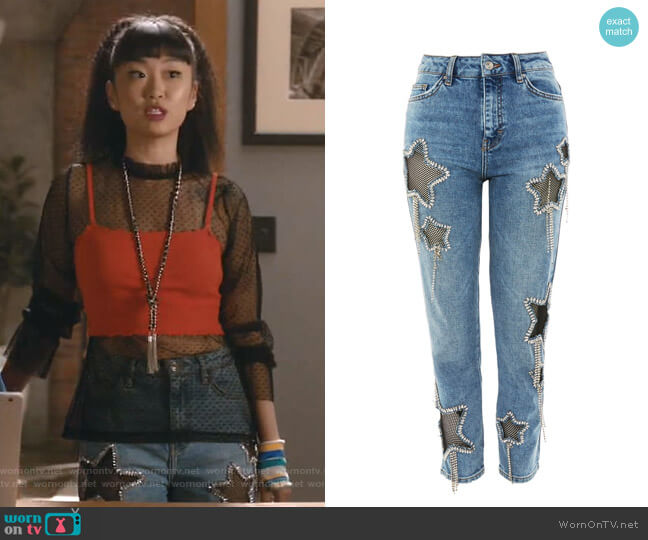 Bleach Diamante Star Jeans by Topshop worn by Monica (Alice Lee) on Take Two