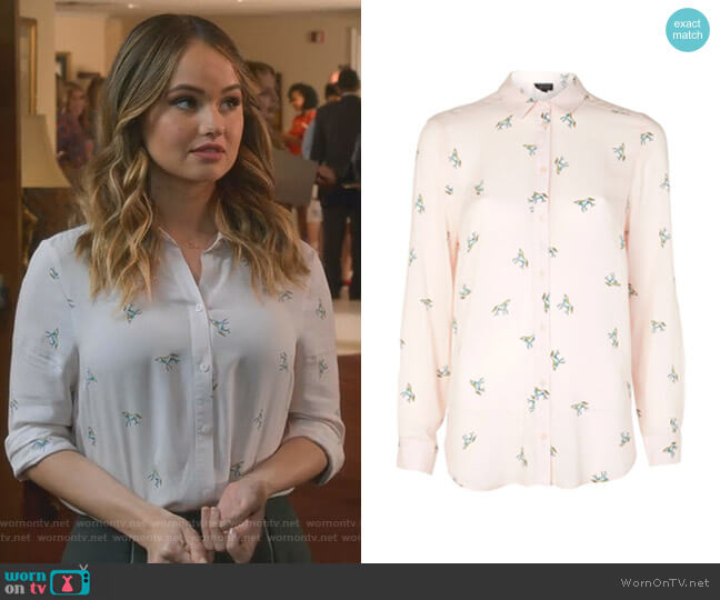 Unicorn Print Shirt by Topshop worn by Patty Bladell (Debby Ryan) on Insatiable