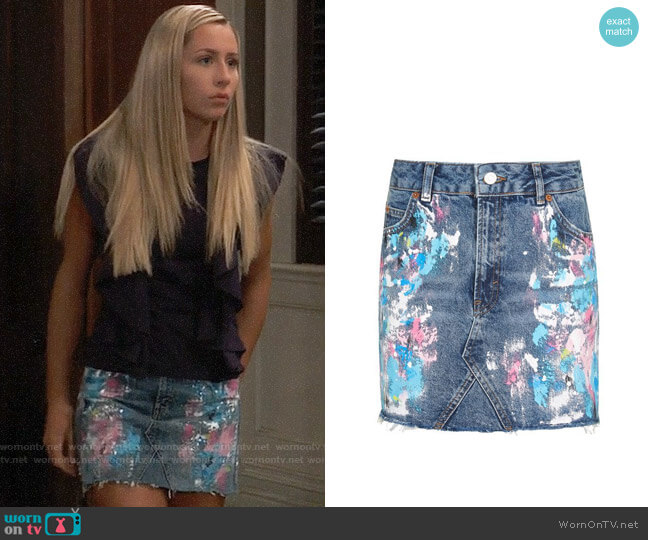 Topshop Paint Splatter Skirt worn by Josslyn Jacks (Eden McCoy) on General Hospital