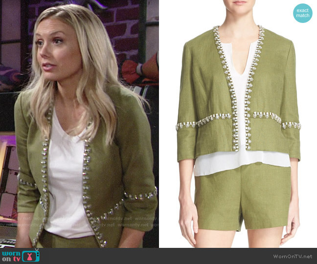 Tory Burch Avery Jacket and Amber Shorts worn by Melissa Ordway on The Young & the Restless