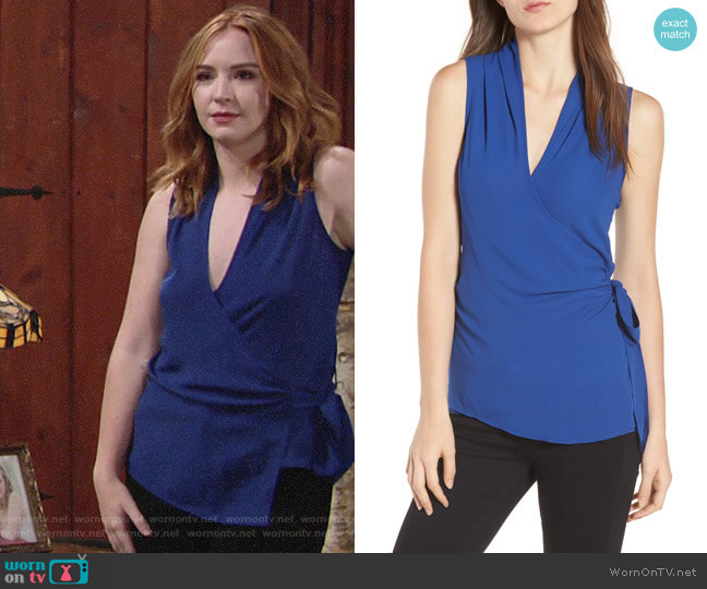 Trouve Wrap Top worn by Camryn Grimes on The Young & the Restless