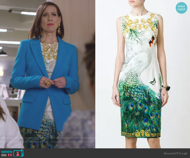 Swan and Peacock Print Fitted Dress by Versace Collection worn by Diana Trout (Miriam Shor) on Younger
