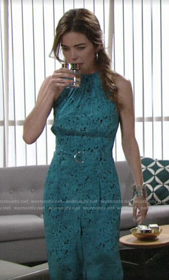 Victoria's blue halter neck jumpsuit on The Young and the Restless