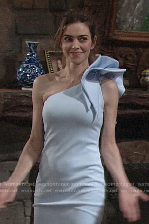 Victoria's blue one-shoulder bridesmaid dress on The Young and the Restless