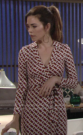 Victoria's brown chain print wrap dress on The Young and the Restless