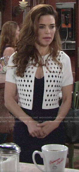 Victoria's white diamond cutout cardigan on The Young and the Restless