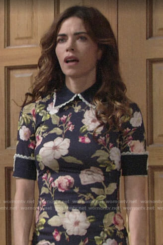 Victoria's blue floral collared dress on The Young and the Restless