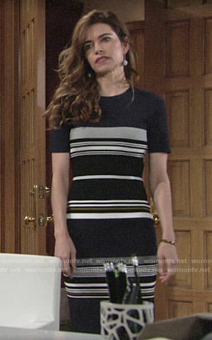 Victoria's navy striped short sleeve dress on The Young and the Restless