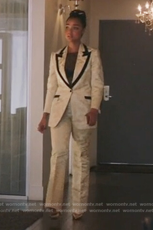 Kat's white contrast suit on The Bold Type