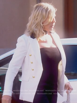 Vicki's white gold button blazer on The Real Housewives of Orange County